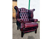 Chesterfield wing back oxblood leather armchair VGC DELIVERY AVAILABLE