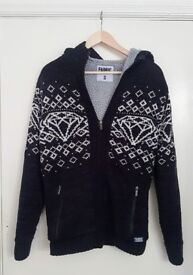 Used Fabric Men's Navy Blue & White Jumper Hoodie Zip Up | Sweats Zipper Design Christmas | Leeds