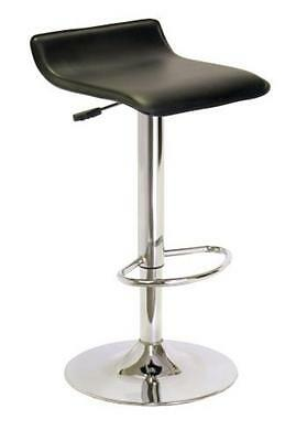 Winsome Single Airlift Swivel Stool w/Black Faux Leather Seat Black/Metal NEW
