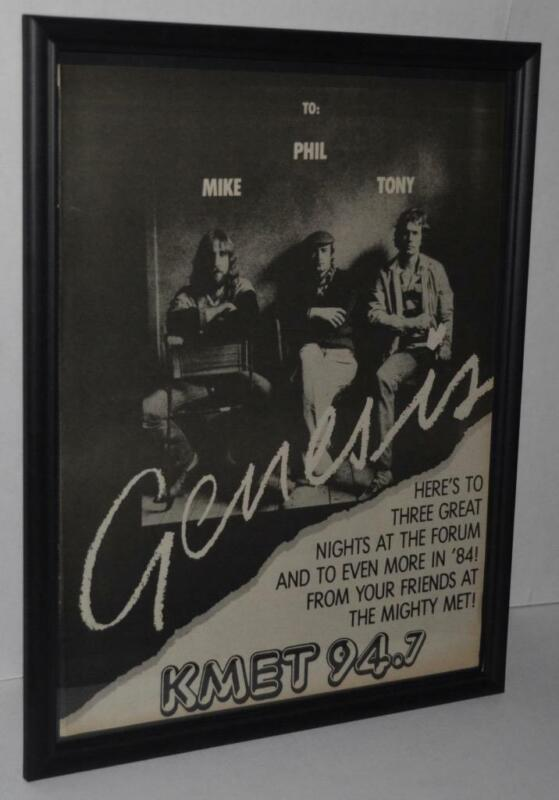 GENESIS 1984 THE FORUM FRAMED PROMOTIONAL 3 CONCERTS POSTER / AD PHIL COLLINS