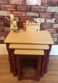 ANNIE SLOAN SET OF 3 SOLID WOODEN NEST OF TABLES