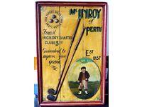 Rare Vintage Wooden Golf Advertising Board McInroy of Perth Est 1857