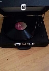 Vinyl record player portable as new