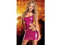 Sexy Pink Metallic Clubwear Mini Dress With Floral Cut Out Side And Underwear. Brand New In Pack.