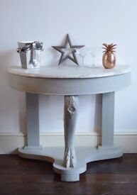 Antique, Shabby Chic Console, Drinks Table With Marble Top