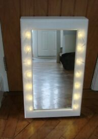 Mirror Cabinet with LED Lights Shelves Makeup Storage White brand new