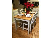 Farmhouse / Country Dining table & chairs in Little Greene 'Urbane Grey'