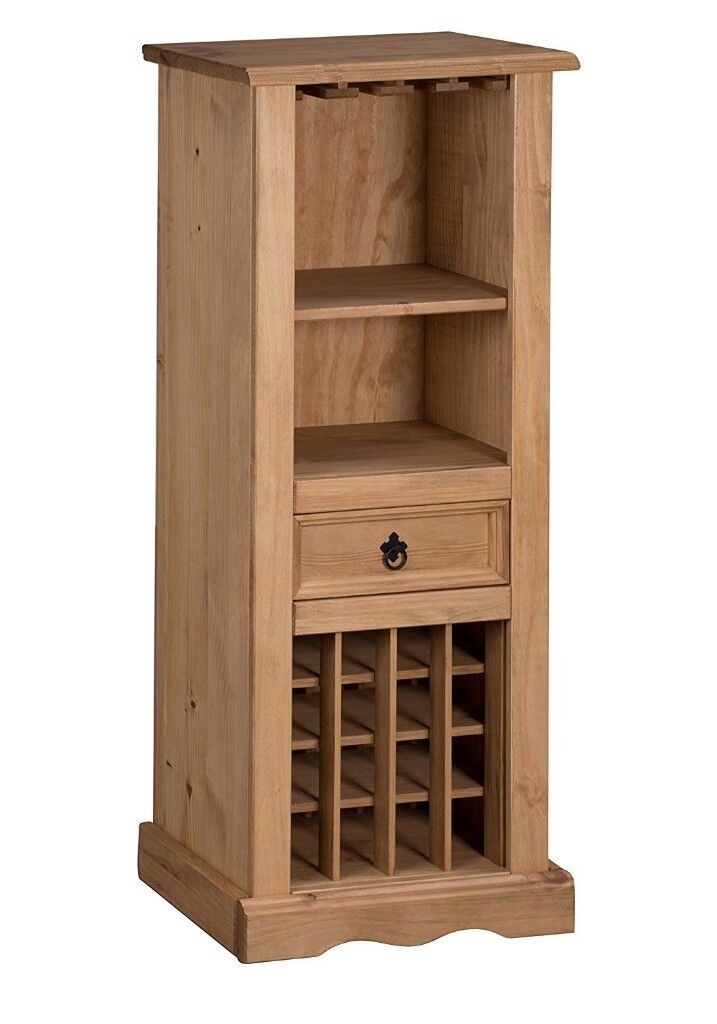 Corona 16 bottle wine cabinet with glassware storage & drawer - Solid Mexican Pine