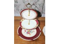 Job lot of three English floral cake stands