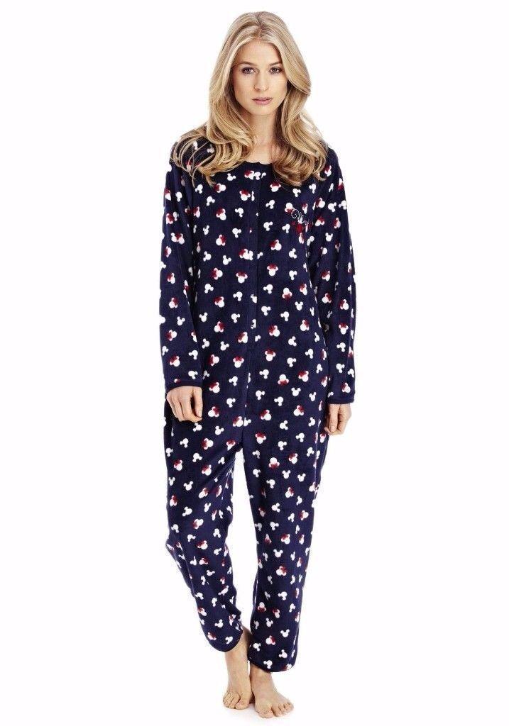 Brand New Official Disney Ladies Minnie Mouse Onesie Pyjamas Navy ...