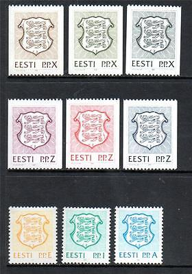 ESTONIA MNH 1992 SG179-181/SG182-184/SG189-191 STATE ARMS EXPRESSED BY LETTERS