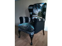 unique newly upholstered vintage wingback armchair