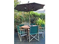 OUTDOOR WOODEN TABLE, UMBRELLA AND 5 CHAIRS SET - FREE FOR COLLECTION