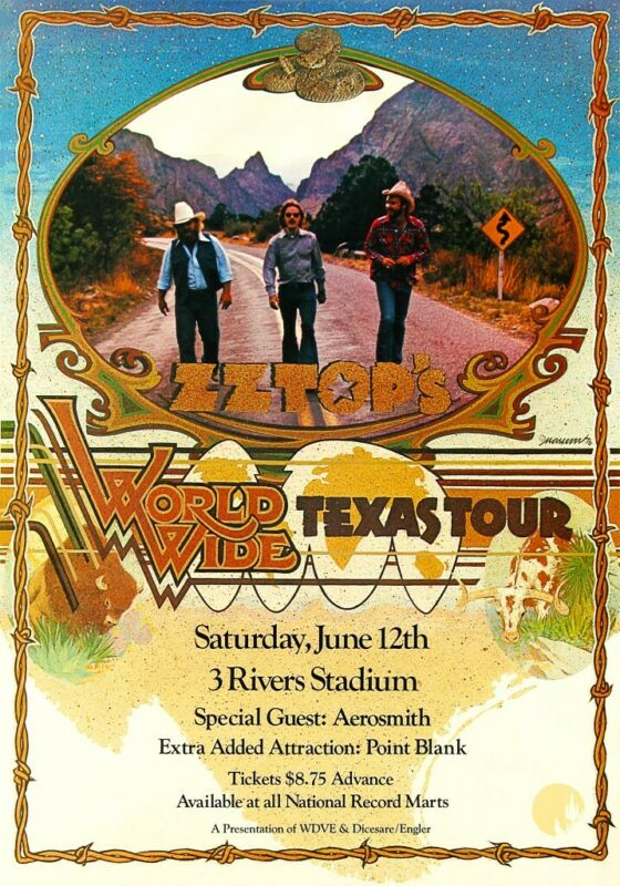 ZZ Top 1976 Concert POSTER World Wide Texas Tour Rare