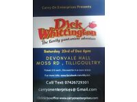 Dick Whittington pantomine Tickets Devonvale Hall on the 23rd of December