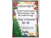 Christmas Shopping Evening. 30 different stalls. Grand raffle.