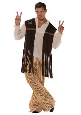 60s Costume Men (1960S 60'S ADULT MENS MALE PEACE RETRO HIPPIE COSTUME FRINGE VEST BROWN 28555)