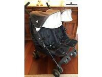 Maclaren Twin Techno Double Seat Umbrella Stroller in Black