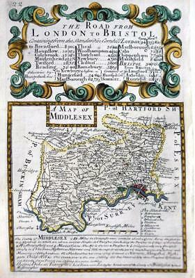 MIDDLESEX  LONDON   BY EMANUEL BOWEN GENUINE ANTIQUE ENGRAVED MAP c1720