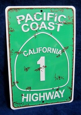 Pacific Coast Highway    Us Made  Embossed Metal Tin Sign   Man Cave Garage Bar