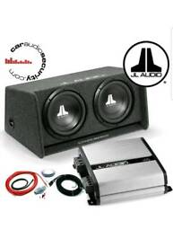 "JL Audio JX500.1D Sub Amplifier & W0V3 Double 12""Subs in box bass package"