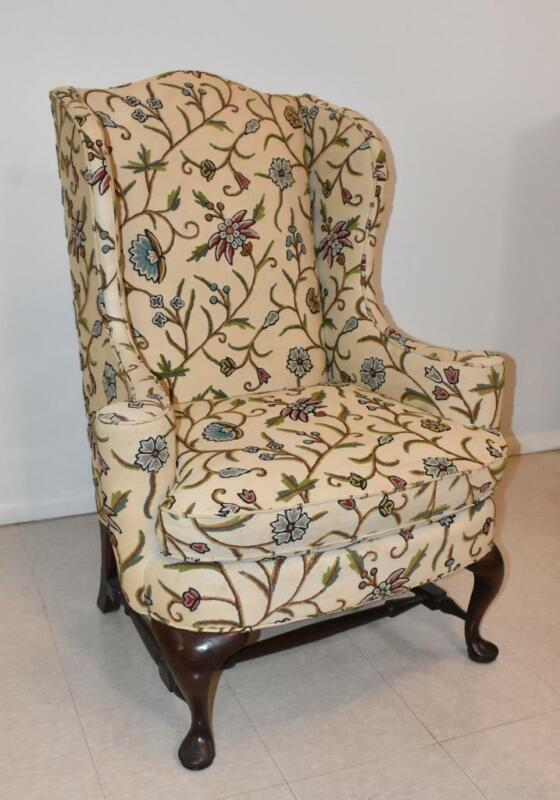 Georgian Style Wing Back By Hickory Chair Walnut Frame Crewel Upholstery