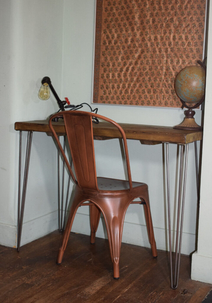 Rustic Industrial Desk Copper Style Chair Hairpin Leg Table In