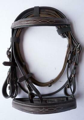 New Rich Brown Padded Browband Noseband Leather English Bridle Mini/ Pony Fancy!
