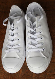 CONVERSE OX LEATHER WHITE TRAINERS 7 NEW IN BOX