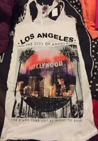 Lovely white printed Los Angeles vest top size 10