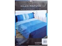 Mode Luxury Living Milan Pintuck Soft Fitted Double Duvet Set Inc 2 Pillow Cases