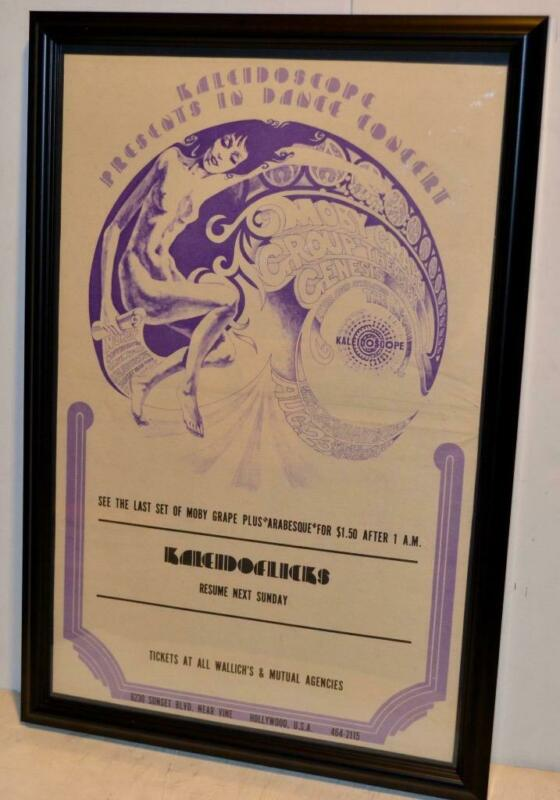 GENESIS MOBY GRAPE THE McCOYS 1968 RARE KALEIDOSCOPE FRAMED CONCERT POSTER / AD