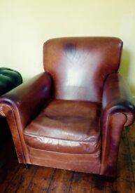 Vintage Brown Leather Armchair by THE CONRAN SHOP