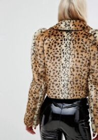 Millie Mackintosh Faux Fur brand new jacket in leopard print size 10
