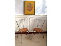 2 Retro Vintage Mid Century Tubmenager Chrome French Dining Chairs Orange Seats