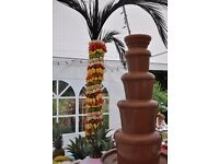 Chocolate Fountain and Fruit Palm Trees/displays for Weddings Birthdays Parties Events