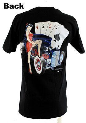Zombie Hot Rod Custom Poker Ford Coupe Girl V8 Muscle US Car T- Shirt NEU