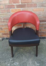 Retro Style Back and Red upholstery and dark wood armchair