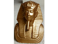 Antique gold painted bust of Tutankhamun