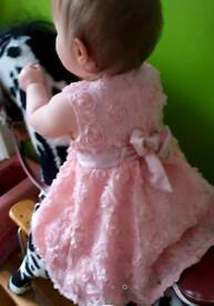 Stunning pink dress 6-9 months good as new condition from boots miniclub