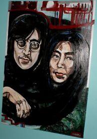 John Lennon Yoko Ono original oil acrylic painting on canvas, KatArtDesignsHomeStudio