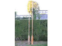 Pair of vintage very long wooden oars, 8 ft 4 inches