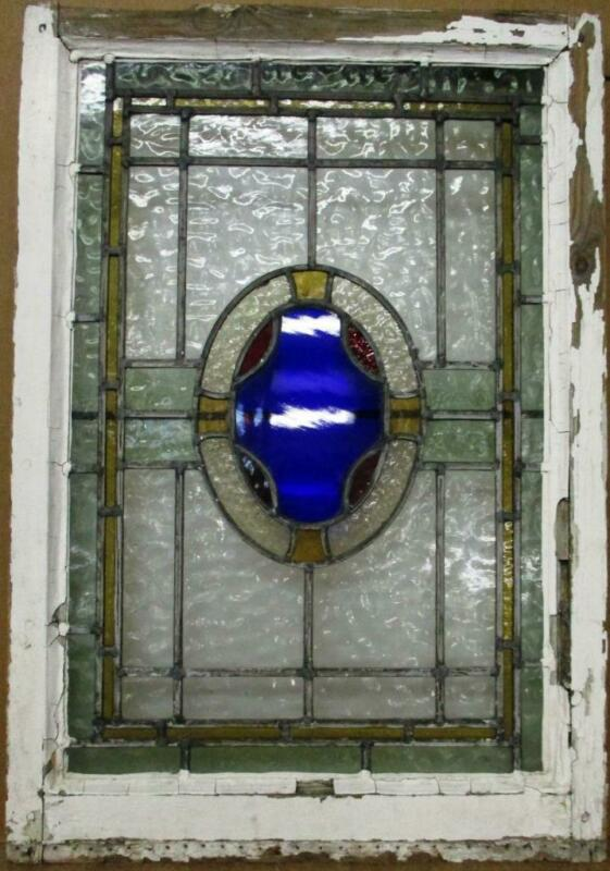 """MIDSIZE OLD ENGLISH LEADED STAINED GLASS WINDOW Oval w Border 21.5"""" x 31.25"""""""