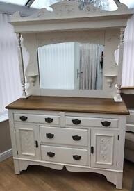 Shabby chic solid oak dresser/Sideboard with mirror