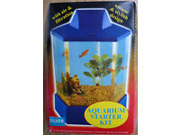 Fish Tank Kit – Plastic, Silver Base and Lid, Six Sided with air pump and other accessories