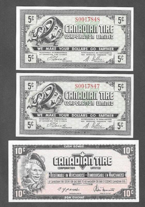 (2) 5 CENT CANADIAN TIRE NOTES CONSECUTIVE #