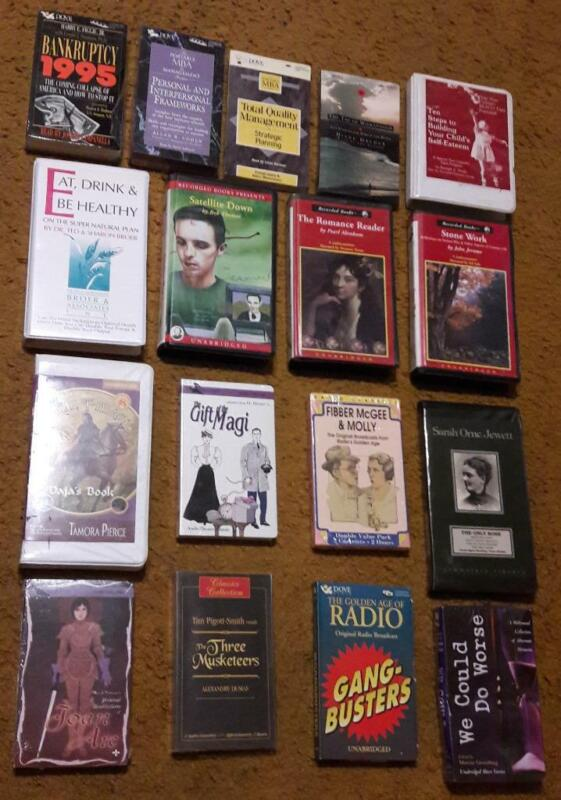 An Eclectic Lot of 17 Audiobooks on Cassette Tapes - Fiction and Non-Fiction