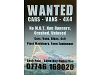Cars, vans, 4x4's wanted