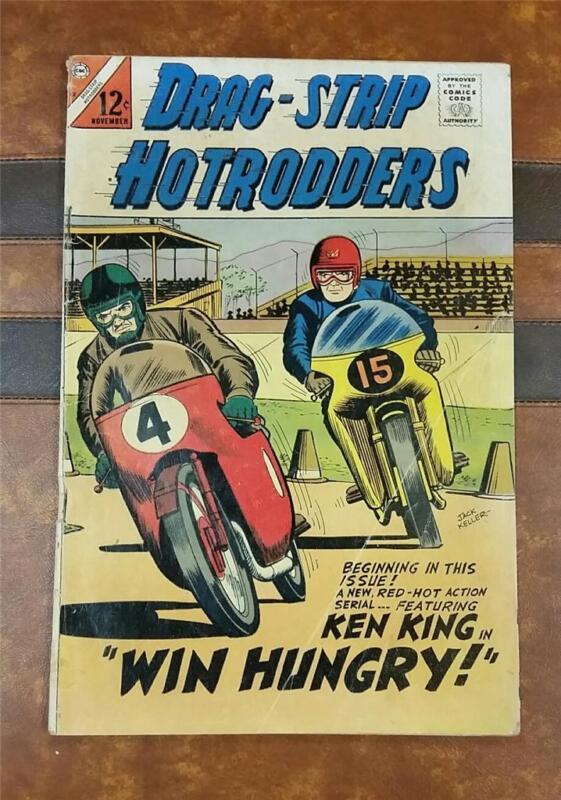 DRAG STRIP HOTRODDERS COMIC No.12 * SILVER AGE * NOV 1966 12c * MOTORCYCLES RACE