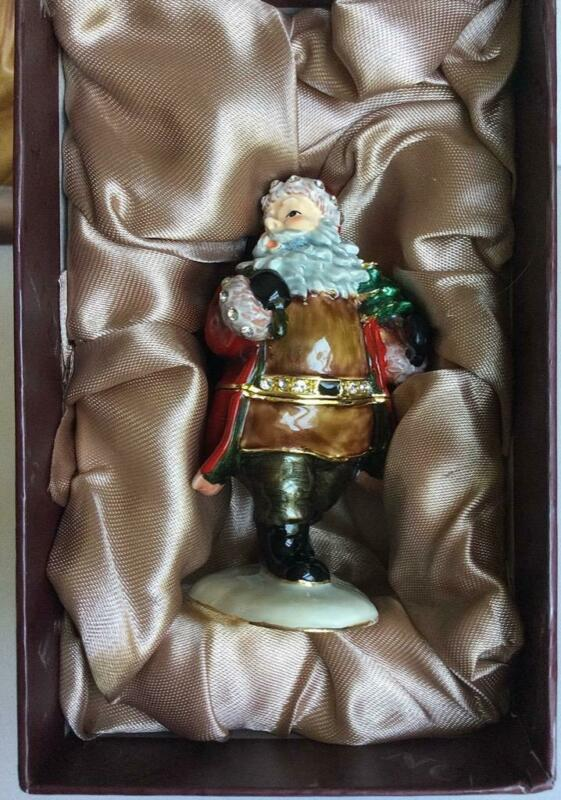 "Beautiful NOBILITY 3"" ENAMEL RHINESTONE SANTA PILL TRINKET BOX"